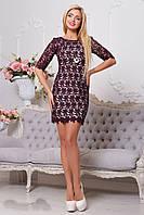 Романтичное гипюровое бордовое платье