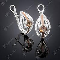 Серебряные серьги с раухтопазом и фианитами. Артикул С-377