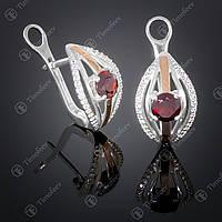 Серебряные серьги с гранатом и фианитами. Артикул С-377