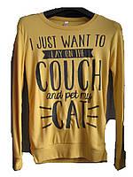 """Свитшот женский (трикотаж) Couch cat желтый Турция """"Smile"""" B-1053"""