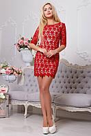 Элегантное красное гипюровое платье