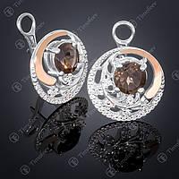 Серебряные серьги с раухтопазом и фианитами. Артикул С-378
