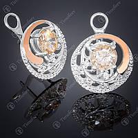 Серебряные серьги с цитрином и фианитами. Артикул С-378