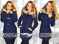 Женское кашемировое пальто с мехом