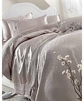 Покрывало+шелковый постельный комплект KARACA HOME Tugce vison