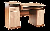 Стол компьютерный, прямой, с полочкой  клавиатуры и тумбой под манитор, размер 85х63х123 см Офис Менеджер 123