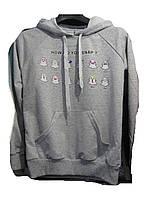 """Батник женский (коттон) с капюшоном смайлы серый Розница """"Smile"""" B-1053"""
