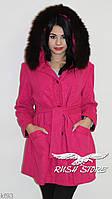 Женское пальто из кашемира с натуральным мехом