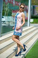 Платье- трапеция со вставками из сетки с джинсовой перфорацией.Ткань: Креп, белая сетка 3 цвета бис № 7582
