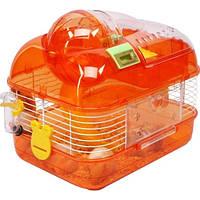 Клетка со счетчиком для пробега хомячков+ американская горка.34-25-29 см