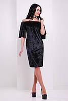 Велюровое черное платье