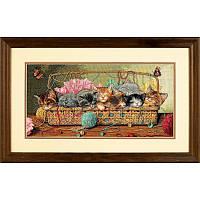 "Набор для вышивания крестом DIMENSIONS ""Котята в корзинке//Kitty Litter"" 35184"