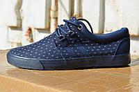 Мужские низкие кеды спортивные туфли тканевые темно синие