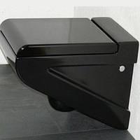 Черный консольный унитаз ArtCeram La Fontana с сиденьем плавное опускание