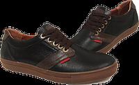 Кожаные мужские спортивные туфли Geox, качество, черные