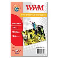 Фотобумага WWM Глянцевая 200г/м кв, 10 на 15, 100л (G200.F100/C)