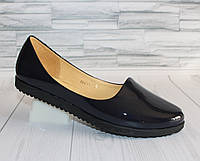 Балетки. Открытые туфли. Натуральная лаковая кожа 0875
