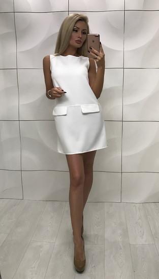 Элегантное летнее платье без рукавов ft-350 белое