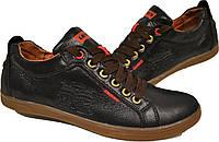 Кожаные мужские спортивные туфли LEVIS , качество,черные