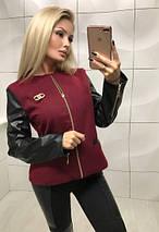 Куртка женская из кашемира и экокожи на тонкой подкладке /разные цвета, 42-44,44-46, ft-349/, фото 2