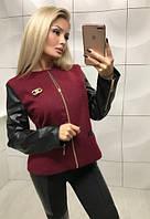 Куртка женская из кашемира и экокожи на тонкой подкладке ft-349 марсала