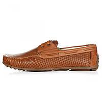 Мокасины мужские Geronimo коричневые кожаные на шнуровке