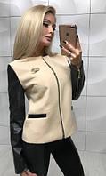 Куртка женская из кашемира и экокожи на тонкой подкладке ft-349 бежевая