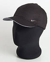 """Бейсболка спорт """"Nike"""" черная с серым подкозырьком шестиклинка плащевка точка"""
