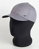 """Бейсболка спорт """"Nike"""" серая с черным подкозырьком шестиклинка плащевка точка"""