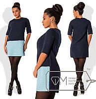 Женское двухцветное платье из рогожки шанель