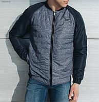 Бомбер мужской весенний STF melange dark blue синий (осень-весна, куртка мужская весенняя)