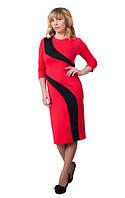 Женское платье Зигзаг удачи  красивое,стильное, оригинальное размеры  44, 46, 48, 50, 52, 54, 56 красное
