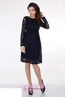 Короткое платье из дорогого гипюра с длинными рукавами