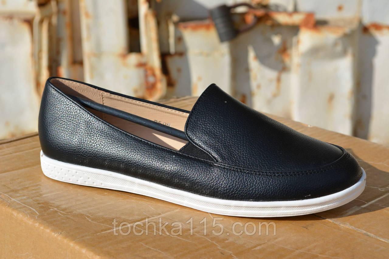Женские слипоны кожаные черные от интернет-магазина «Точка 115» e1b33e10df5ab
