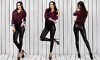 Черные женские кожаные (экокожа) леггинсы с надрезами