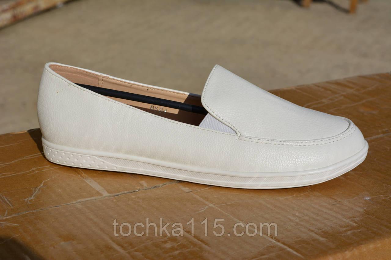 Женские слипоны кожаные белые