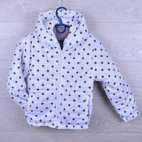 """Детская демисезонная куртка """"Звезды"""". 2-6 лет. Белая. Оптом."""