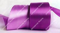 Лента атласная 5см оптом фиолетовая справа