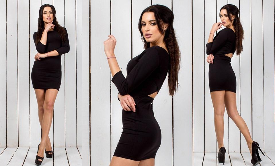 Платье черное короткое в обтяжку