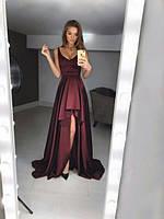 Вечернее платье длинное, ткань атлас-шелк, цвет бордо , супер качество ля № панорама