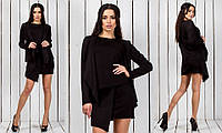 Черный стильный женский костюм-тройка с ассиметричной юбкой