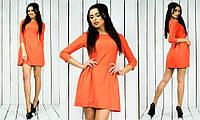 Красивое модное стильное молодежное короткое оранжевое женское платье с рукавом три четверти