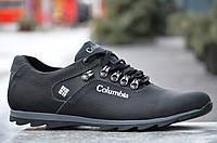 Кроссовки, спортивные туфли кожаные Columbia реплика мужские черные
