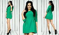 Красивое модное стильное молодежное короткое женское платье срукавом три четверти ментол