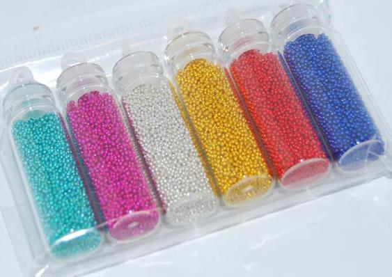 Бульонки для декора ногтей,  набор, 6 оттенков