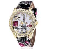 Женские часы со стразами  Love you Paris Черный ремешок V.2