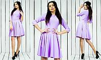 Красивое стильное модное креповое платье с рукавом три четверти лилового цвета