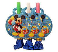 """Язычок  гудок карнавальный """" Микки Маус""""  Язычок длиной 10 см. 1 упаковка ( 6 штук)"""