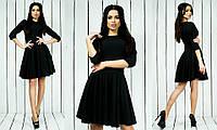 Красивое стильное модное креповое платье с рукавом три четверти черного цвета