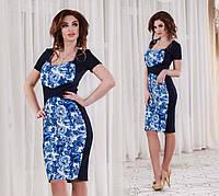 """Элегантное женское платье средней длины """"Элеганс Цветы Гжель"""" (DG-с443)"""